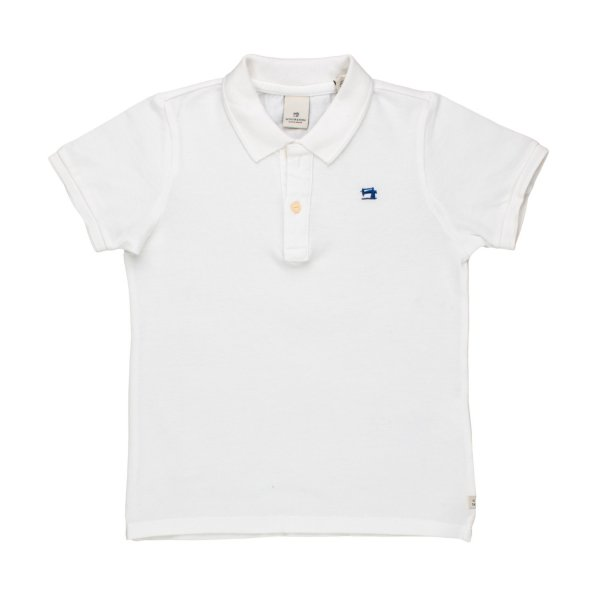 Scotch & Soda - POLO BIANCA TINTA IN CAPO BAMBINO TEEN