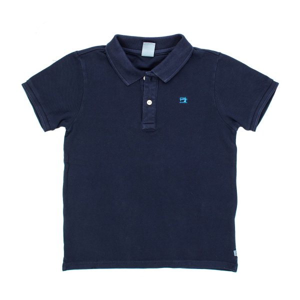 Scotch & Soda - POLO BLU TINTA IN CAPO BAMBINO TEEN