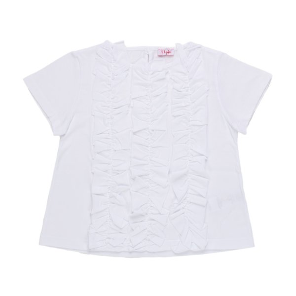 Il Gufo - T-SHIRT BIANCA CON ROUCHES BAMBINA