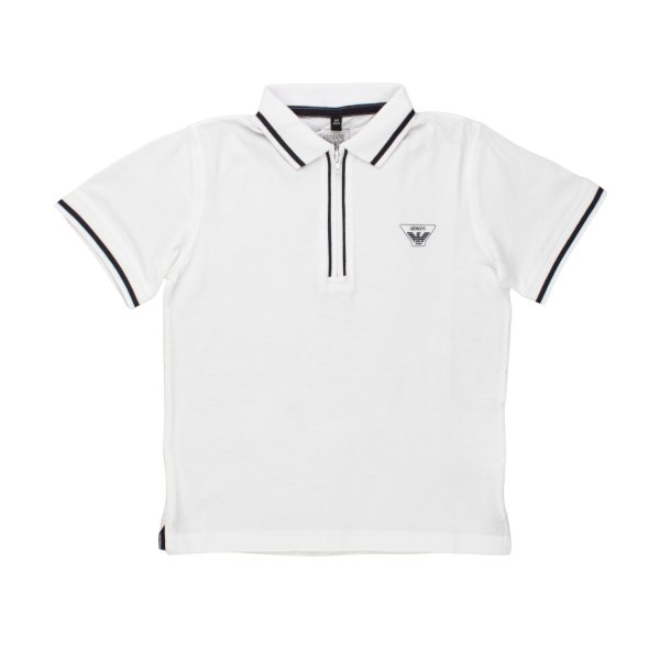 Armani Junior - POLO ZIP BIANCA BAMBINO TEEN