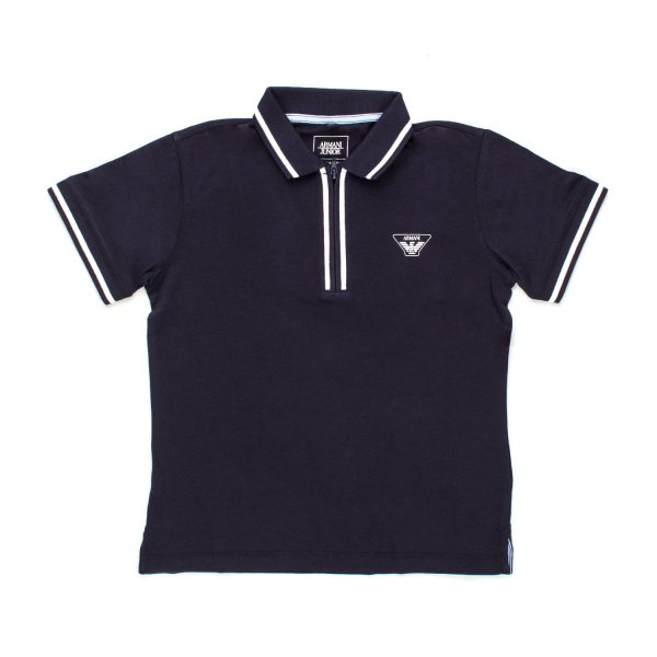 Armani Junior - POLO ZIP BLU BAMBINO TEEN