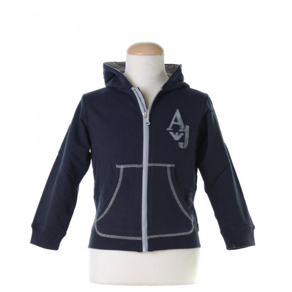 Armani Junior - FELPA BLU NAVY FULL ZIP CON CAPPUCCIO