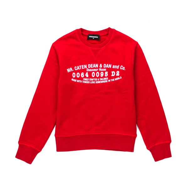 Lovely sweatshirt in red with front contrast logo print by Dsquared2 - annameglio.com shop online