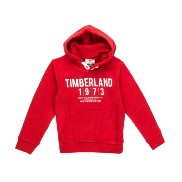 Timberland - BOY RED HOODIE WITH LOGO