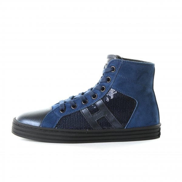 Hogan Rebel - HIGH TOP SNEAKERS CAMOSCIO E PAILLETTES COBALTO