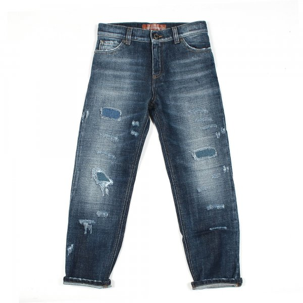 Jeans in Denim Destroyed by Dolce & Gabbana Junior di colore blu scuro e lavaggio medio - annameglio.com shop online