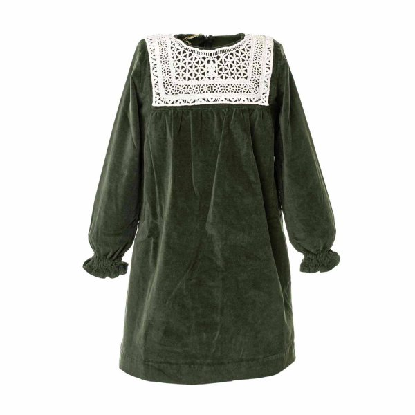 Olive - GIRL GREEN DRESS WITH EMBROIDERY