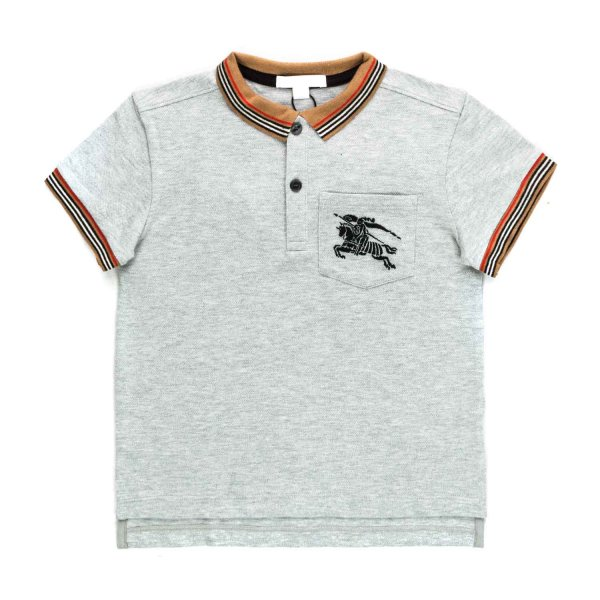 Burberry - BOY GREY POLO SHIRT WITH LOGO