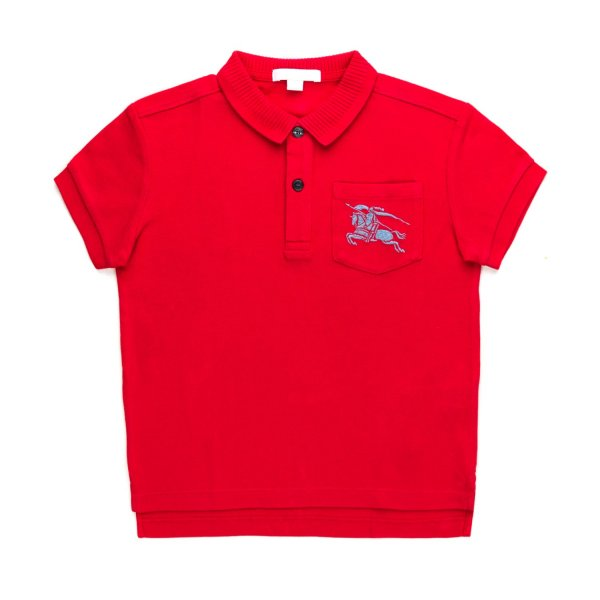 Burberry - BOY RED POLO SHIRT WITH LOGO