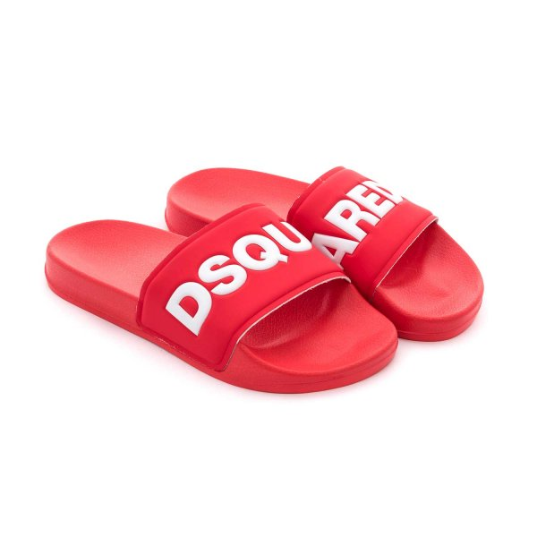 Dsquared2 - RED RUBBER SANDALS FOR BOYS
