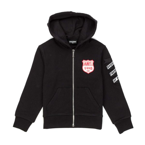 Dsquared2 - BLACK ZIP UP HOODIE FOR BOYS