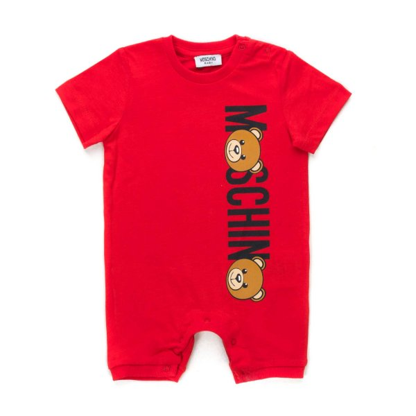 Moschino - BABY RED COTTON ROMPERS