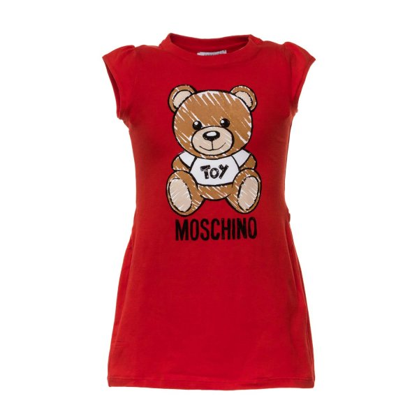 Moschino - TEDDY BEAR RED DRESS FOR GIRL