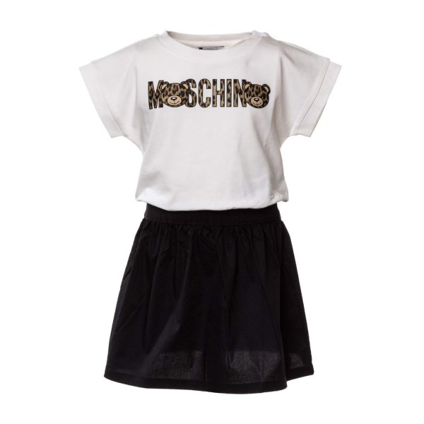 Moschino - COTTON DRESS WITH LOGO FOR GIRLS