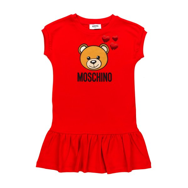 Moschino - TEDDY BEAR RED DRESS FOR GIRLS