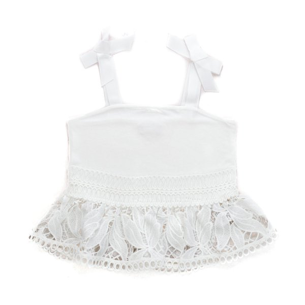 Pinko - WHITE LACE TOP FOR GIRLS