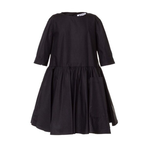 Dondup - BLACK COTTON DRESS FOR GIRLS