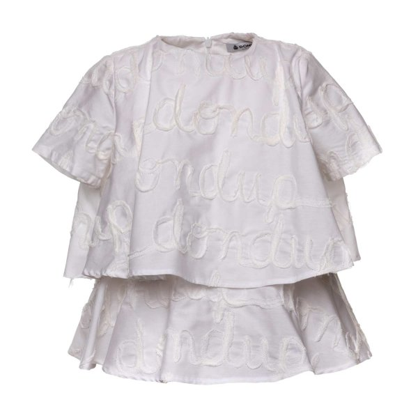 Dondup - WHITE BLOUSE WITH LOGO FOR GIRLS