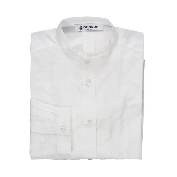 Dondup - BOY WHITE COTTON SHIRT 01