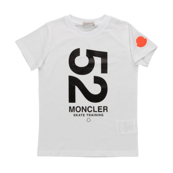 Moncler - WHITE COTTON T-SHIRT FOR BOYS