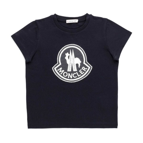 Moncler - GIRL BLUE T-SHIRT WITH LOGO