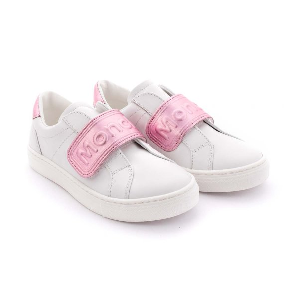 Moncler - WHITE LOGO SNEAKERS FOR GIRLS