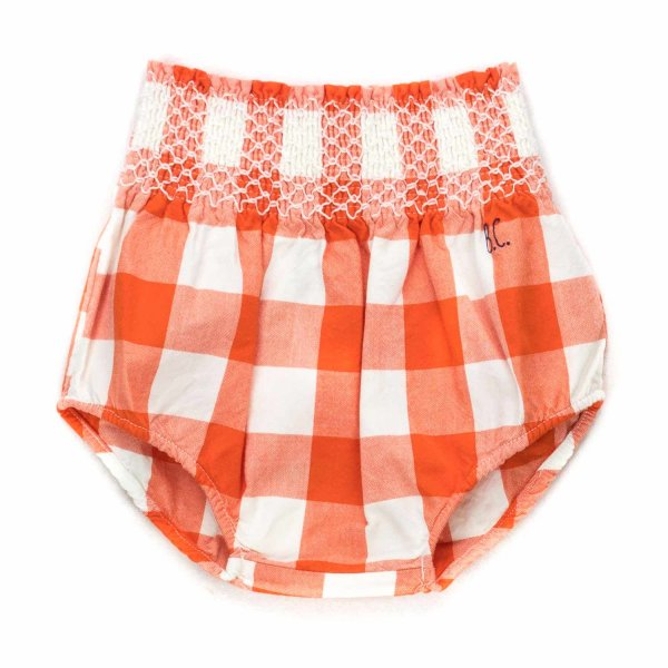 Bobo Choses - BABY GIRL ORANGE CHECK SHORTS