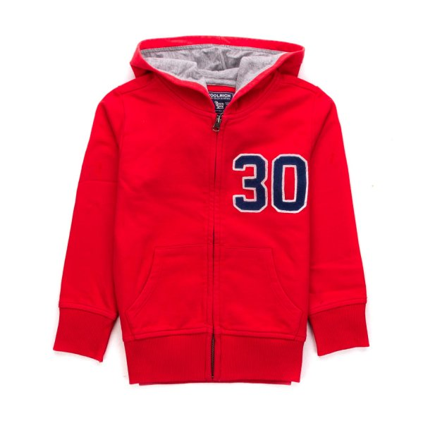 Woolrich - RED ZIP UP HOODIE FOR BOYS