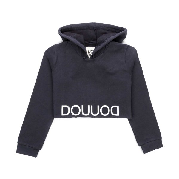 Douuod - BLUE CROPPED HOODIE FOR GIRLS