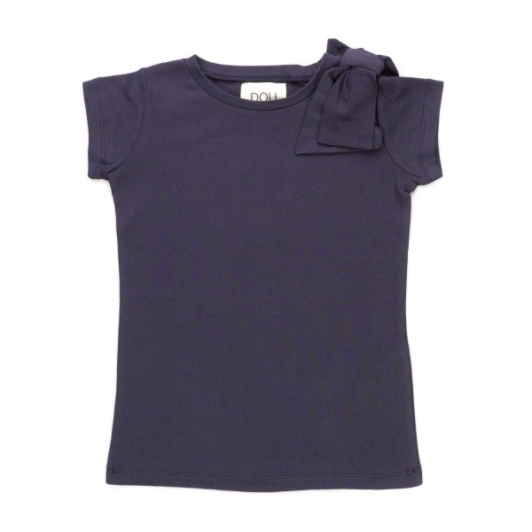 Douuod - GIRL BLUE T-SHIRT WITH BOW