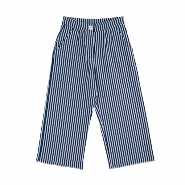 Douuod - GIRL WHITE BLUE STRIPED TROUSERS