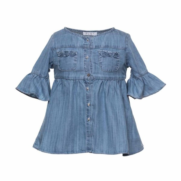Elsy - Denim Dress With Rouches