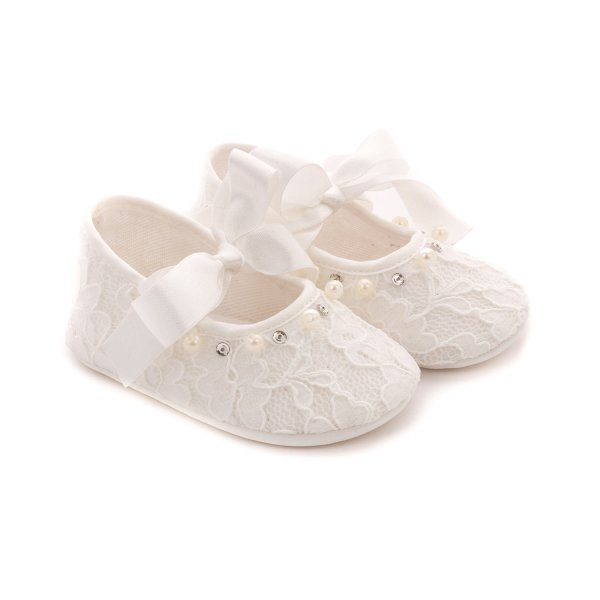 Elsy - BABY GIRL WHITE BALLERINA SHOES