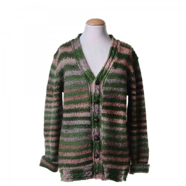 American Outfitters - Cardigan verde melange a righe multicolore