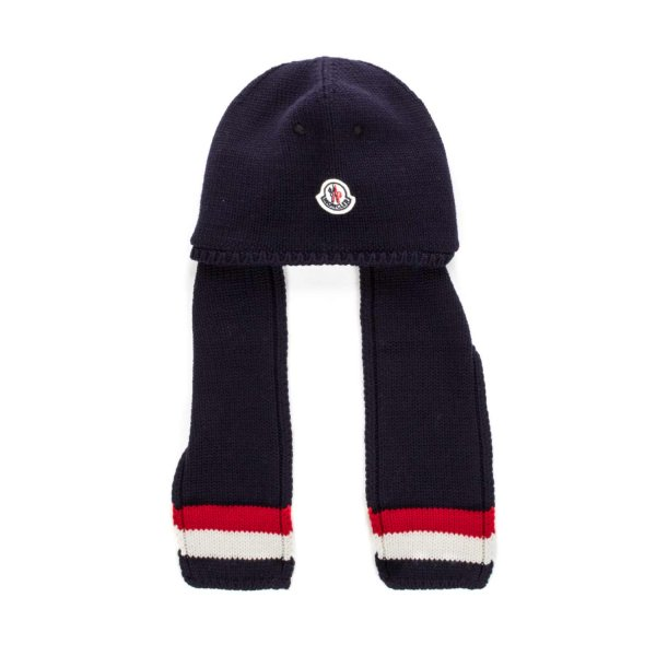 Moncler - BABY BOY BLUE HAT WITH SCARF
