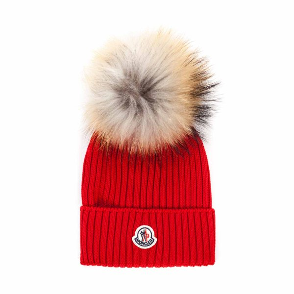 Moncler - RED WOOL BEANIE FOR GIRL