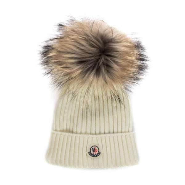 Moncler - WHITE WOOL BEANIE FOR GIRLS
