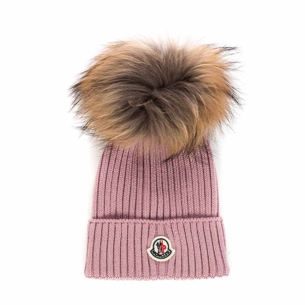 Moncler - PINK WOOL BEANIE FOR GIRLS