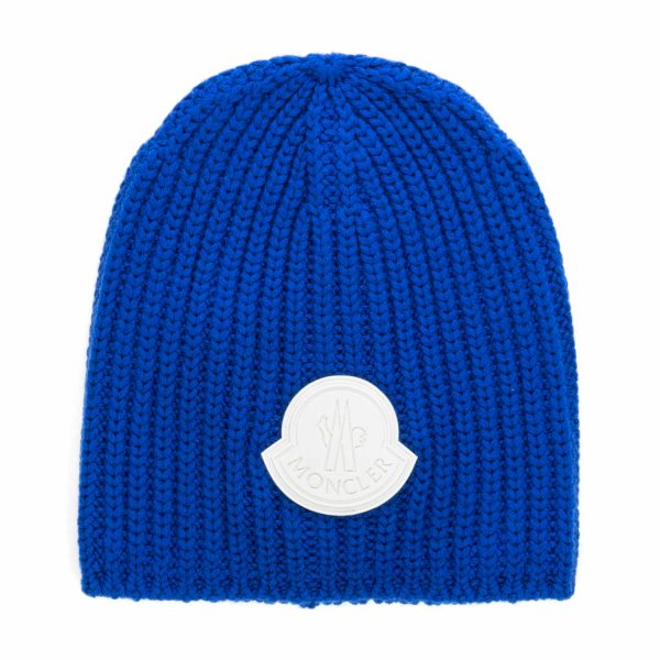 Moncler - BLUE WOOL BEANIE FOR BOYS