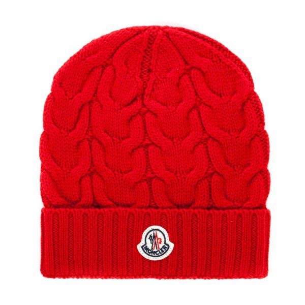 Moncler - RED WOOL BEANIE FOR GIRLS