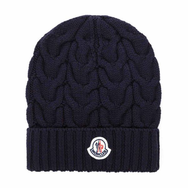 Moncler - BLUE WOOL BEANIE FOR GIRLS
