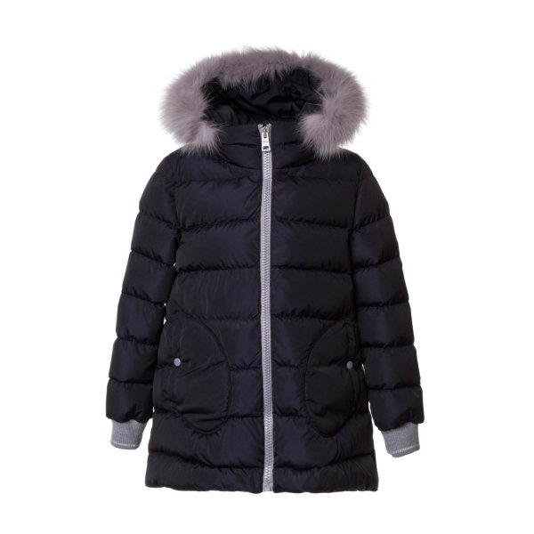 Herno - GIRL BLUE DOWN JACKET WITH FUR