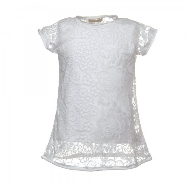 Elsy - T-SHIRT BAMBINA IN PIZZO CON FODERA STACCABILE