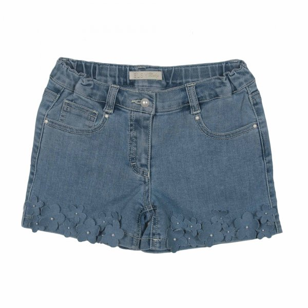 Elsy - SHORTS BAMBINA IN DENIM CON FIORI