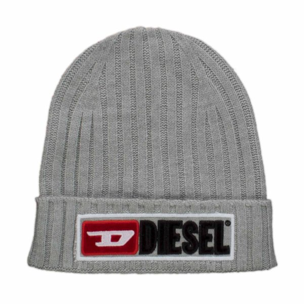 Diesel - Gray Ribbed Cap With Embossed Logo