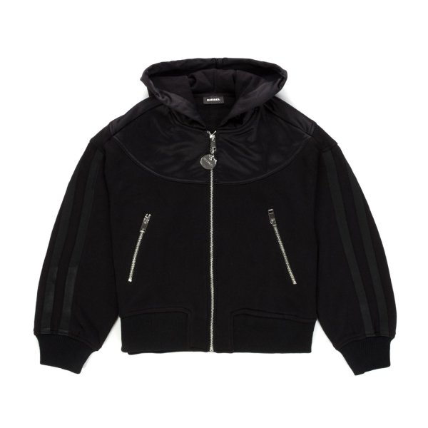Diesel - BLACK ZIP HOODIE FOR GIRLS