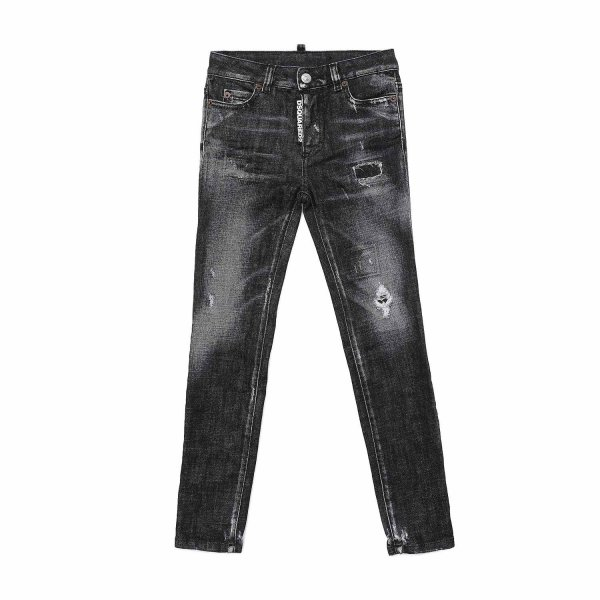 Dsquared2 - BLACK DISTRESSED JEANS FOR BOYS