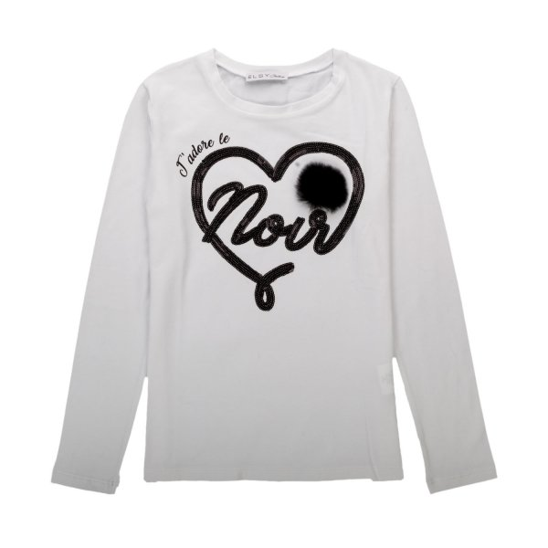 Elsy - GIRL LONG SLEEVE WHITE T-SHIRT