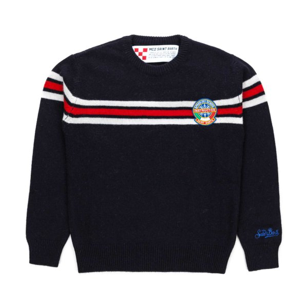 Mc2 Saint Barth - BOYS BLUE WOOL PULLOVER