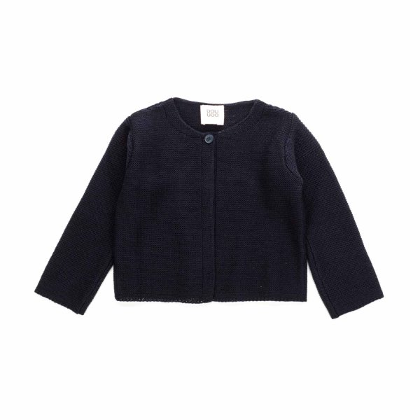 Douuod - BLUE WOOL CARDIGAN FOR BABY GIRLS